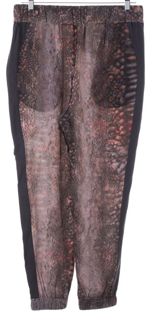 ALLSAINTS Red Black Silk Python Ottavia Cropped Casual Pants