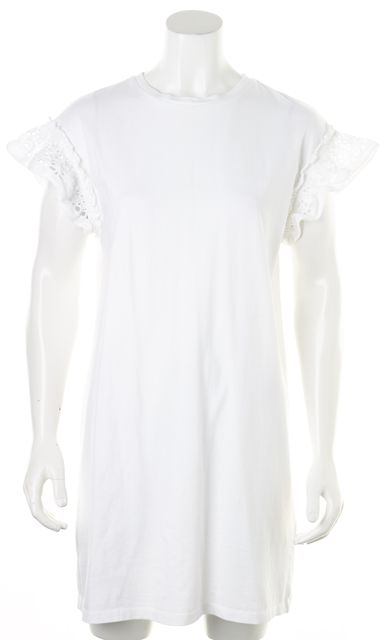 ALLSAINTS White Cotton Cap Sleeve Trixi Ruffle Shift Dress