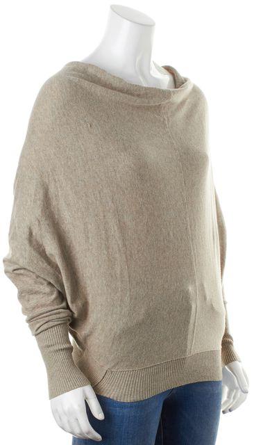 ALLSAINTS Beige Cotton Knit Dolman Sleeve Elgar Cowl Neck Sweater