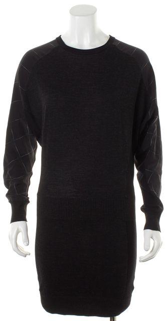 ALLSAINTS Black Wool Plaid Silk Trim Long Sleeve Tahara Sweater Dress