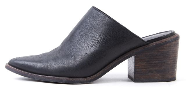 ALLSAINTS Black Leather Pointed Toe Chunky Mule Heels