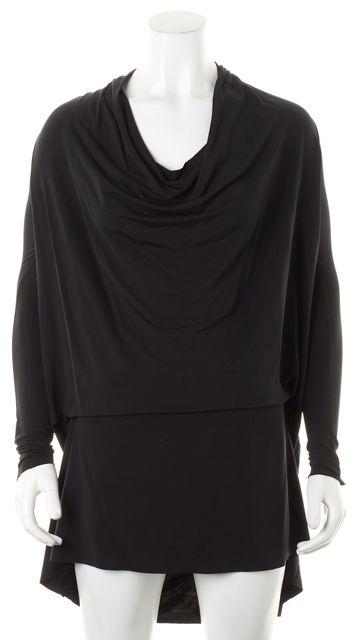 ALLSAINTS Black Jersey Draped Cowl Neck Long Sleeve Amei Shift Dress