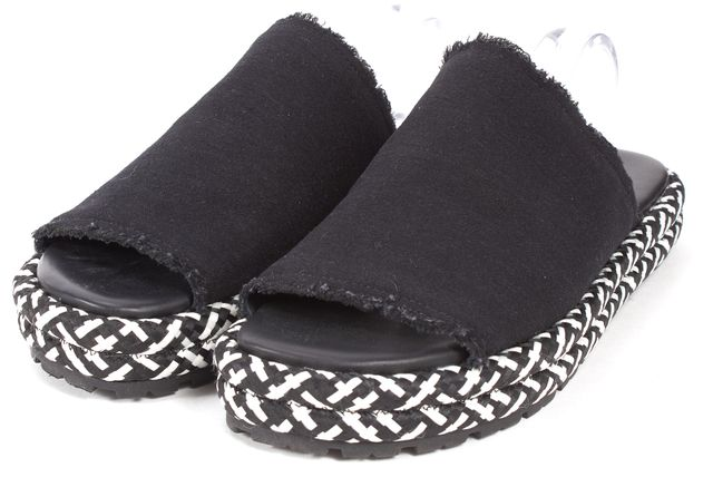 ALLSAINTS Washed Black White Denim Bette Slip-On Sandals