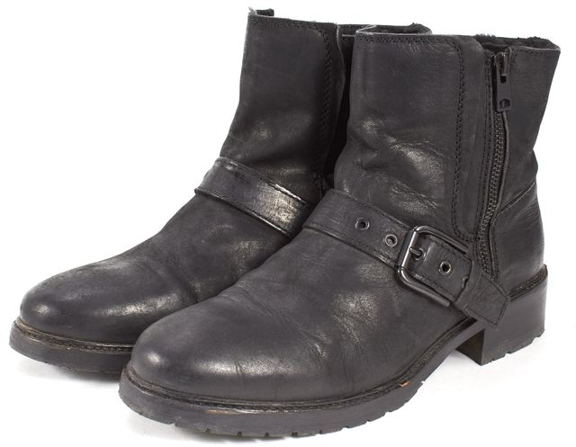 ALLSAINTS Black Leather Shearling Lined Side-Zip Ankle Boots