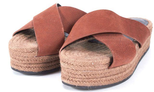 ALLSAINTS Brown Pebbled Suede Espadrille Sandal Wedges