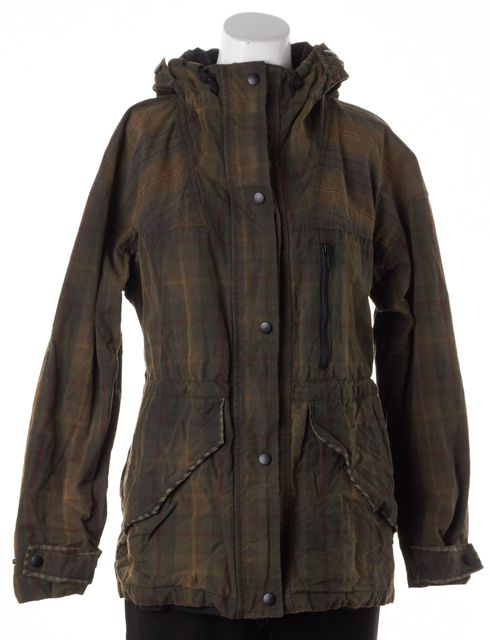 ALLSAINTS Army Green Red Plaid Oxide Waxed Hooded Jacket