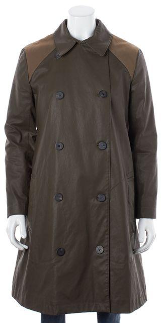 ALLSAINTS Brown Wax Coated Denim Ambassador Trench Coat