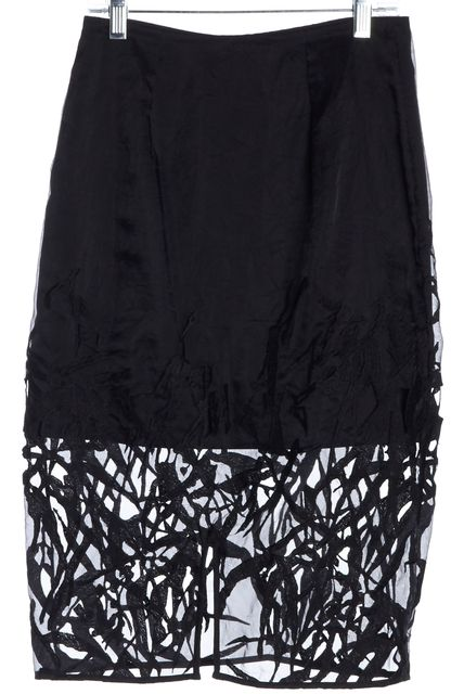 ALLSAINTS Black Lace Embroidered Sheer Iree Skirt