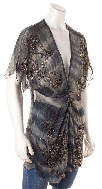 ALLSAINTS Gray Abstract Sheer Silk Beaded Blouse Top