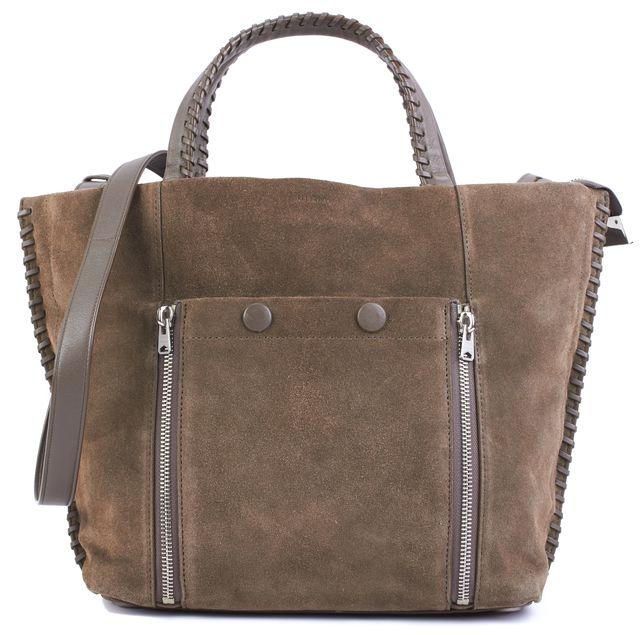 ALLSAINTS Brown Suede Leather Braided Trim Detail Shoulder Bag Handbag