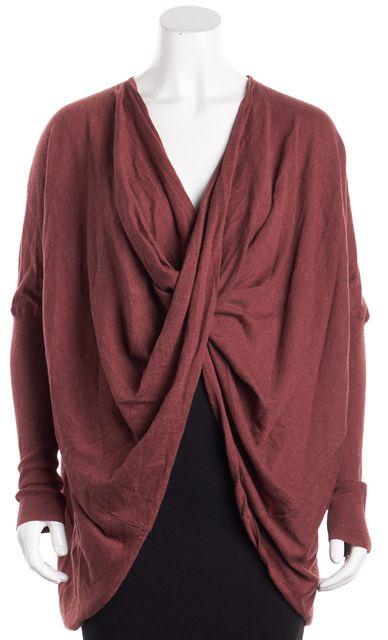 ALLSAINTS Burgundy Long Sleeve Itat Shrug Sweater