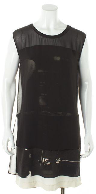 ALLSAINTS Black Silk Layered Sheer Trim Nisia Resonate Shift Dress