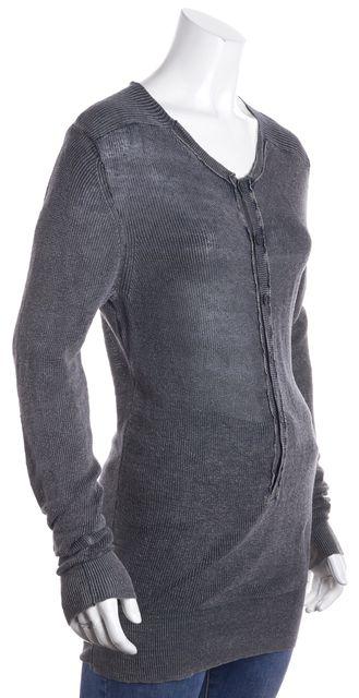 ALLSAINTS Gray Long Sleeve Swoop Neck Linen Button Down Knit Blouse