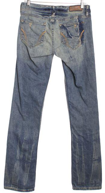 ALLSAINTS Blue Distressed SPITAFEILDS Button Front Slim Fit Jeans