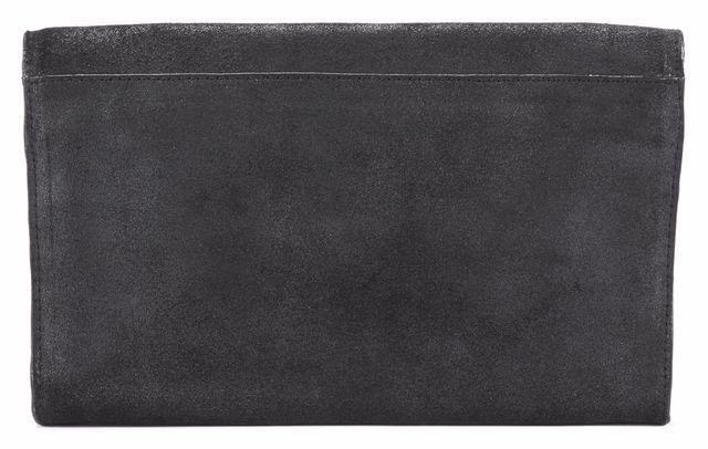 ALLSAINTS Black Leather Calf-Hair Panel Clutch