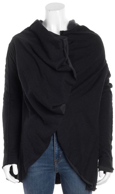ALLSAINTS Black Long Sleeve Cow Neck Beaks Pull On Button Front Cardigan
