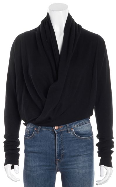 ALLSAINTS Black Long Sleeve Wool Asymmetrical Pirate Cropped Cardigan