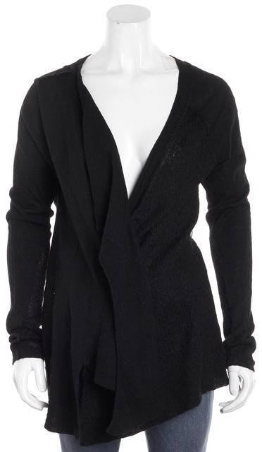 ALLSAINTS Black Long Sleeve Wool Wendell Open Asymmetrical Hem Cardigan