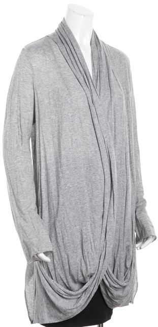 ALLSAINTS Gray Long Sleeve Cow-Neck Salacia Open Jersey Knit Cardigan