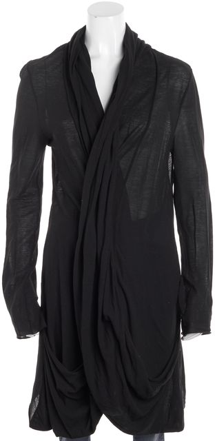 ALLSAINTS Black Long Sleeve Cow-Neck Salacia Jesey Knit Open Cardigan
