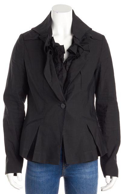 ALLSAINTS Black Long Sleeve Ruffle Trim Single Brest One Button Blazer