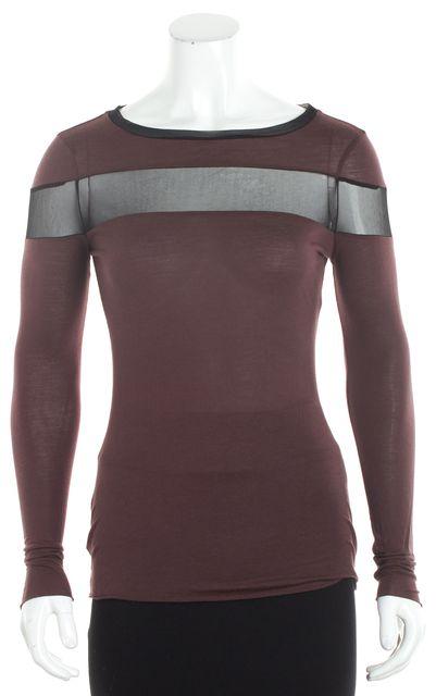 ALLSAINTS Brown Jersey Black Colorblock Mesh Embellished Tee T-Shirt