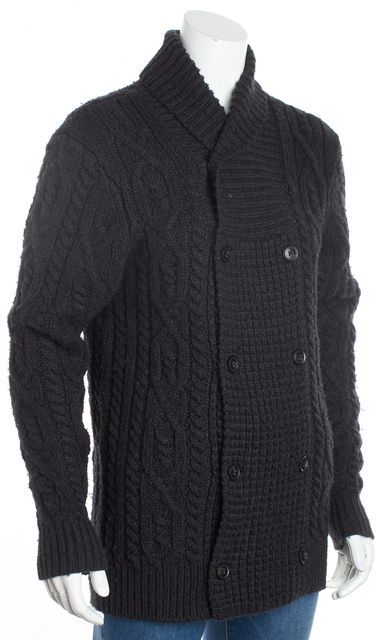 ALLSAINTS Navy Blue Long Sleeve Double Breast Wool Button Down Cardigan