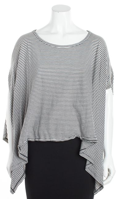 ALLSAINTS Gray and White Striped Poncho Knit Blouse