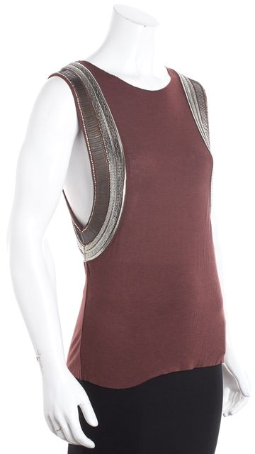 ALLSAINTS Maroon Embellished Muscle Tank Top