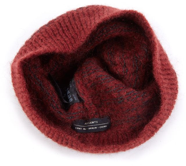 ALLSAINTS Dark Maroon Red and Gray Beanie