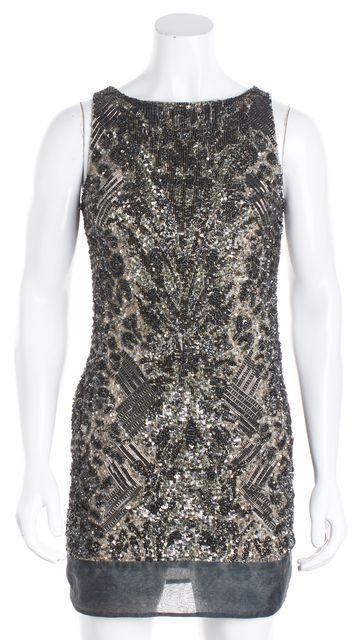 ALLSAINTS Silver Hand Embellished Sleeveless Sheath Dress