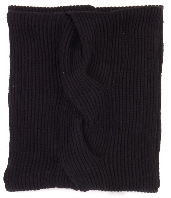ALLSAINTS Black Wool Woven Braided Cowl Scarf
