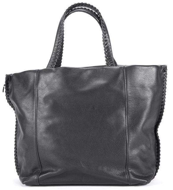 ALLSAINTS Black Leather Fleur de Lis East West Tote Bag