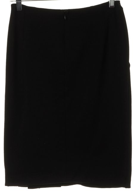 ALTUZARRA Black Wool Front Stitch Detail Side Slit Pencil Skirt