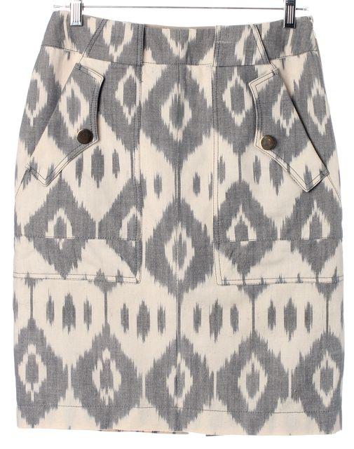 ALTUZARRA Gray Beige Ikat Pocket Front Above Knee Straight Skirt
