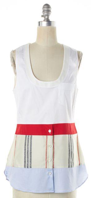 ALTUZARRA White Red Color-Block Fabric-Block Bottom Button Up Tank Top