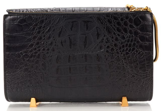ALEXANDER WANG Authentic Black Crocodile Embossed Leather Chastity Clutch