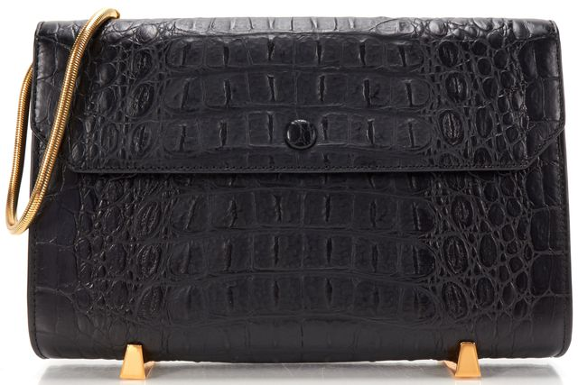 ALEXANDER WANG Black Crocodile Embossed Leather Chastity Clutch