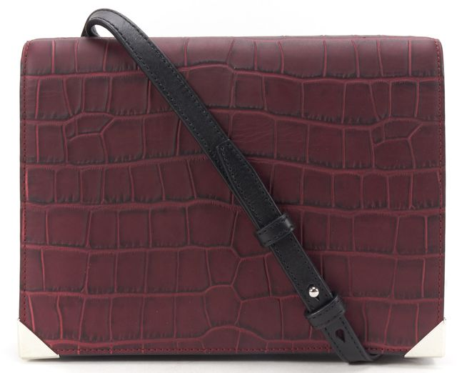 ALEXANDER WANG Burgundy Red Black Leather Crocodile Embossed Crossbody Bag