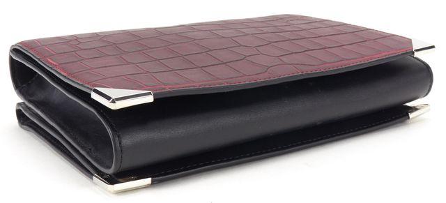 ALEXANDER WANG Burgundy Red Black Leather Crocodile Embossed Crossbody Bag