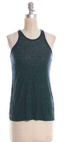 ALEXANDER WANG Green Navy Blue Linen Striped Racerback Tank Top Size XS