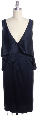 ALEXANDER WANG Blue Silk Draped V-Neck Sleeveless Shift Dress Size 6