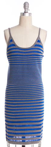 ALEXANDER WANG Blue Gray Striped Stretch Knit Sheath Dress Size S
