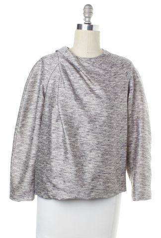 ALEXANDER WANG Gray Abstract Gathered Drape Wool Sweatshirt Top Size M