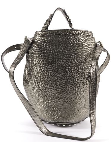 ALEXANDER WANG Auth Metallic Silver Gray Pebbled Leather Diego Stud Bucket Bag