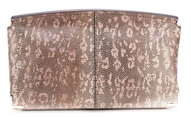 ALEXANDER WANG Brown Lizard Embossed Leather Marion Flap Clutch