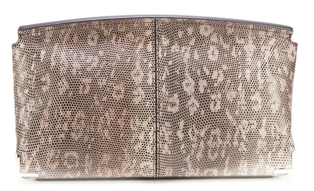 ALEXANDER WANG NEW Brown Lizard Embossed Leather Marion Flap Clutch