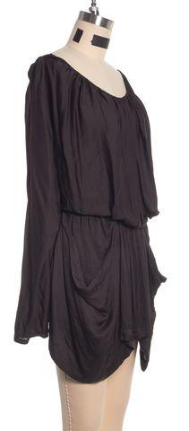 ALEXANDER WANG Black Off Shoulder Draped Long Sleeve Skort Romper Size 2