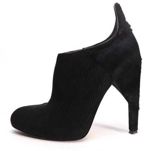 ALEXANDER WANG Black Pony Hair Pointed-Toe Ankle Booties Size 37