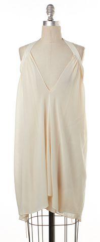 ALEXANDER WANG Ivory Silk Halter Cutout Back V Neck Shift Dress Size 0